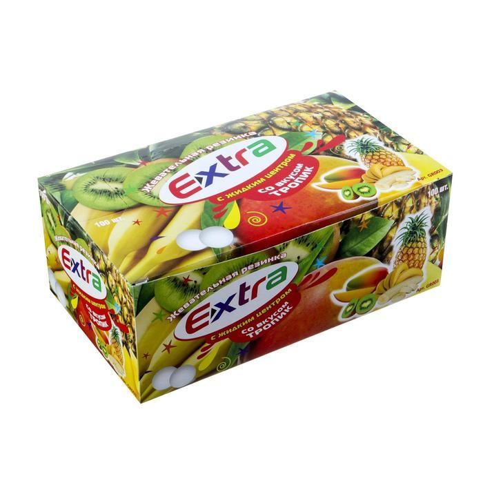 Жевательная резинка Extra со вкусом тропико, 3.3. г Арт.: 4441162 Мин. заказ: 100 Вкус: Мультифрукт С жидким центром: Да