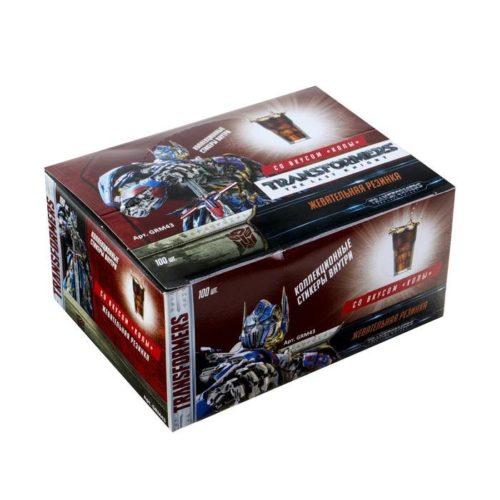 Жевательная резинка со стикером Transformers со вкусом колы, 4.2 г Арт.: 4441154 Мин. заказ: 100 Вкус: Кола С жидким центром: Нет