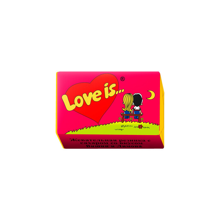 Жевательная резинка Love is, вишня и лимон, 4,2 г Арт.: 1607243 Мин. заказ: 100 Вкус: Вишня, Лимон С жидким центром: Нет